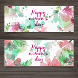 Women Day Watercolor Banners