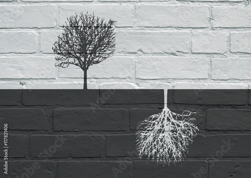 Staande foto Graffiti Urban art, Black and white trees