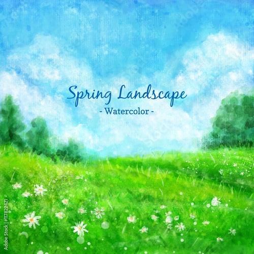 Watercolor spring green landscape