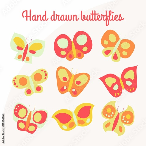 Hand drawn butterflies in childish style