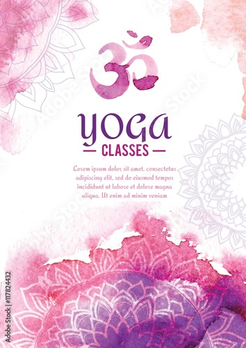 Sticker Cute watercolor yoga flyer with mandalas