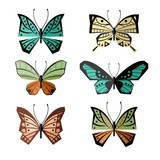 Geometric butterflies with abstract ornaments