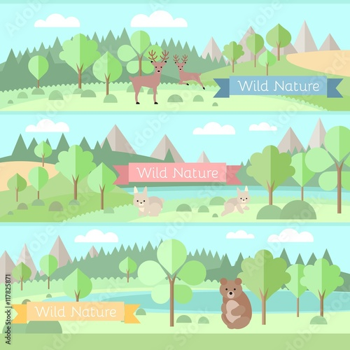 Forest with animals banners