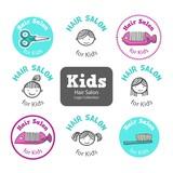Sketches kids hair salon logos set