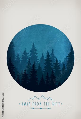 sylwetka-las-przy-nocnym-niebem-dekoracje-lesne