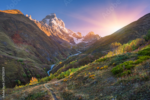 Tuinposter Herfst Autumn landscape in the mountains