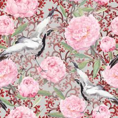 Crane birds, peony flowers. Floral repeating ornate pattern. Watercolor © zzorik