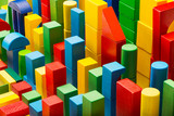 Blocks Toy Abstract Background, Organized Building Bricks - 117831865