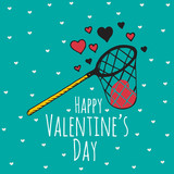 Valentines Day card with illustrated scoop-net and hearts