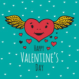Valentines Day card with smiling Heart with wings