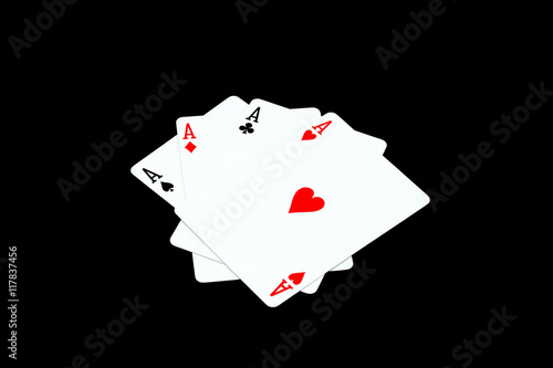 Poster Ace of hearts and other ace on black blackground