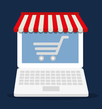 shopping cart online laptop store market icon. Flat and Colorfull illustration. Vector graphic