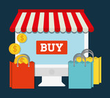 computer shopping bag online store market icon. Flat and Colorfull illustration. Vector graphic