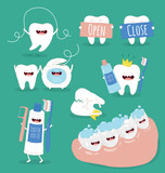 Funny teeth set consisting of toothpaste and toothbrush who are friends forever. Vector illustration.