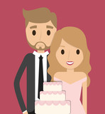 cake couple cartoon girl boy man woman wedding marriage icon. Colorfull and flat illustration. Vector graphic