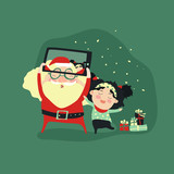 Hipster santa claus and little girl selfie with smartphone for merry christmas