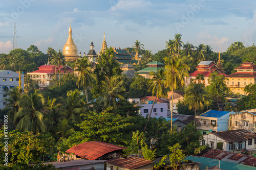 Poster Sunrise, aerial view of Yangon cityscape, Myanmar.