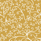 Decorative floral elements pattern seamless on gold background