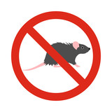 Prohibition sign mouse icon in flat style isolated on white background. Warning symbol