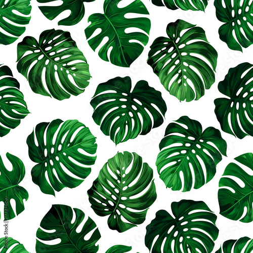Cotton fabric leaves monstera