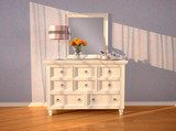 White dresser with a mirror in the interior. 3d illustration.