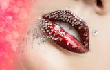 Bright lips in the rhinestones