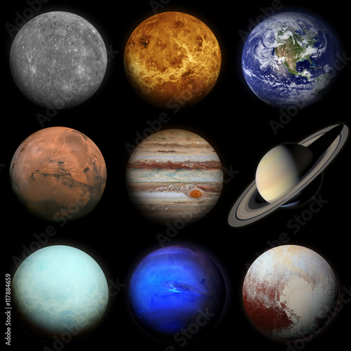 Fototapeta Solar system. Planets on black background.