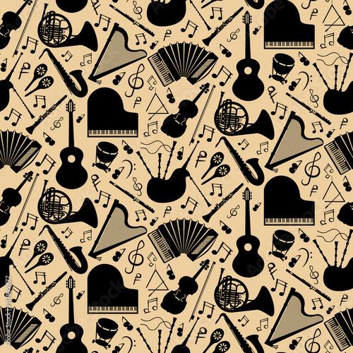 Fotobehang Muziek Pattern with musical instruments