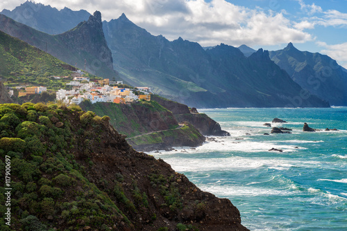 Poster Canarische Eilanden Coastal village in Tenerife Canary Islands Spain