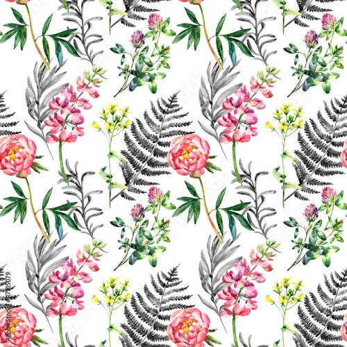 Watercolor wild garden flowers seamless pattern. - 117915079