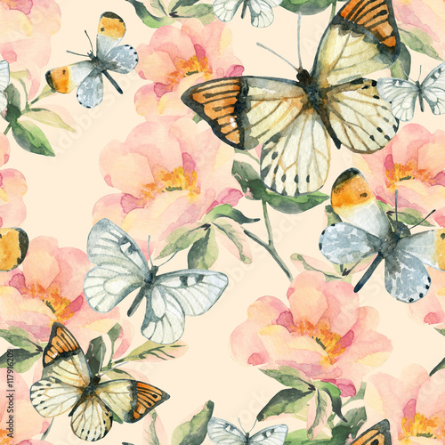 Fototapeta Watercolor briar flowers and butterfly seamless pattern. Dog Rose branches in vintage style