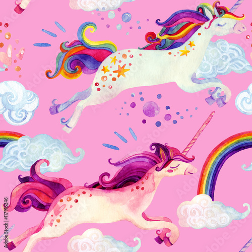 Cotton fabric Watercolor unicorn seamless pattern
