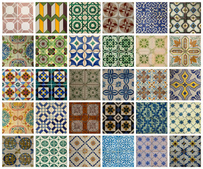 Collage of different colored pattern tiles in Portugal