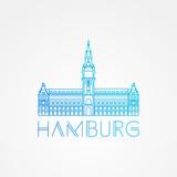 Vector one line minimalist icon of German. Hamburg City Hall, Germany.