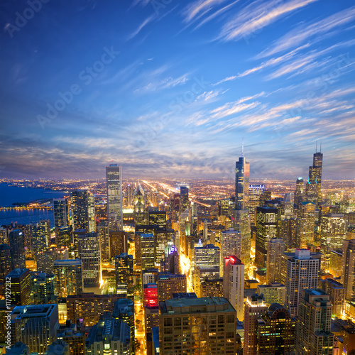 Chicago at dusk, aerial view, United States
