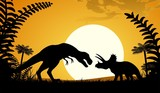 Silhouettes of dinosaurs. Tyrannosaurus and Triceratops on sunset background.