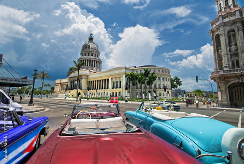 Havana Capitol view from an oldtimer