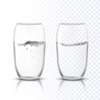 Vector transparent glasses cup with pure clear water