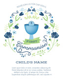 Blue and Green Boy's First Holy Communion Invitation with Chalice and Flowers - Vector  - 117931437