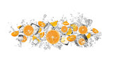 Oranges in water splash on white background