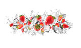 Strawberries in water splash on white background - 117934468