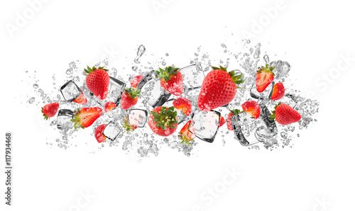 Strawberries in water splash on white background - 117934468