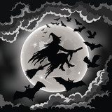 Wicked witch silhouette against the moon with bats.