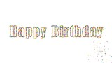 Happy Birthday particle text 3d animation on white background
