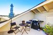 Apartment building roof top terrace exterior. - 117949698