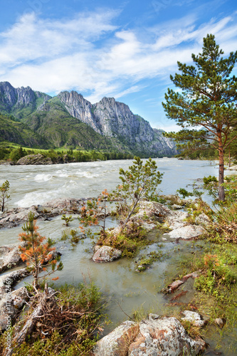 Beautiful mountain landscape in the summer. Altai Mountains, Rus © olezzo