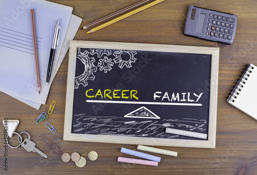 Poster Career and Family Balance. Chalkboard on wooden office desk