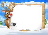 Cartoon Reindeer Christmas Sign Background