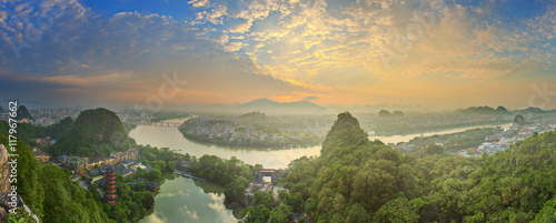 Foto op Canvas Guilin Landscape of Guilin, Li River and Karst mountains. Located near Yangshuo County, Guangxi Province, China