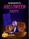 halloween party poster with vampire